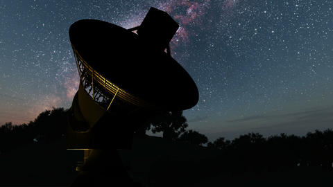 Milky Way Galaxy Night Timelapse Passes Giant Satellite Dish Footage