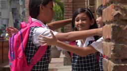 School Girls Saying Goodbye Footage