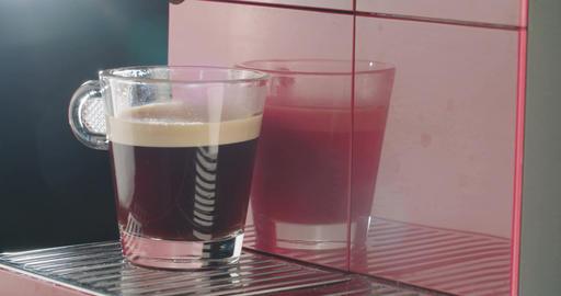 Red Espresso machine preparing a cup of coffee Footage