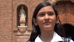 Catholic Girl Praying At Church Footage
