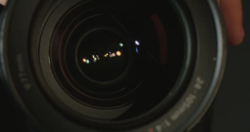 Close up of a Camera lens zooming Footage