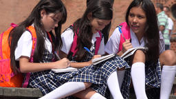 School Girls Studying Together Live Action