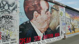 Famous kiss of Brezhnev and Honecker at the Berlin Wall Footage