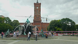The Rotes Rathaus (Red City Hall) and Neptunbrunnen (Neptune) fountain, Berlin Footage