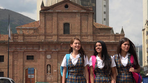 Female Students Walking After School Stock Video Footage