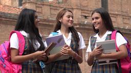 School Girls In Uniform Holding Books Footage