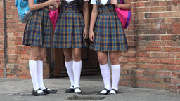 Female Students Wearing Skirts Or Dresses Footage