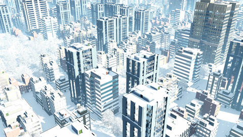 Aerial view of city downtown at snowfall winter day Animation