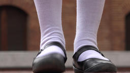 Girl Tapping Her Foot Wearing White Socks Stock Video Footage