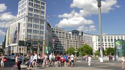 Pedestrian crossing at Potsdamer Platz in Berlin, Germany Footage