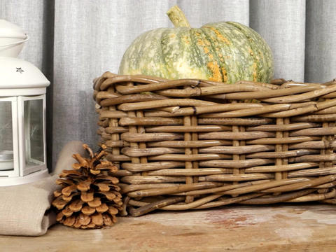 Still life with pumpkins, pine cones and lanterns Footage