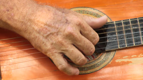 Hand Strumming Acoustic Guitar Footage