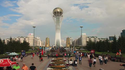Bayterek Astana Evening 4k Zoom Animation