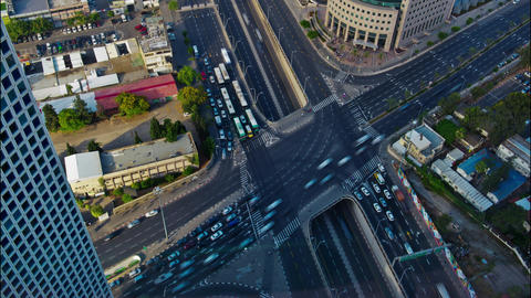 Timelapse 4K video of Life, Cars and City traffic from Azrieli towers in Tel avi Footage
