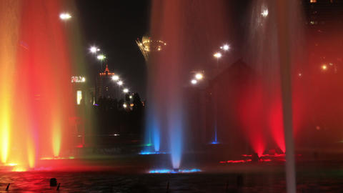 Fountains Bayterek 4K Time Lapse Zoom Out Animation