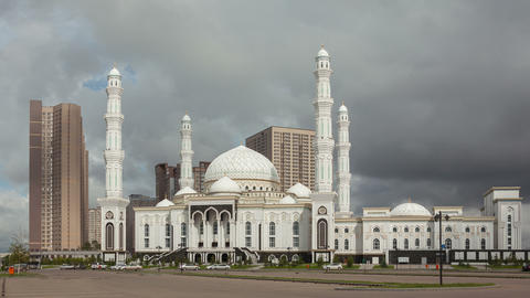 Mosque Astana Time Lapse 4K Zoom Animation
