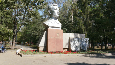 Dzhandosov Monument Autumn 4K Footage