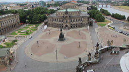 Dresden. Semper Opera and Theaterplatz view from above. Germany Footage