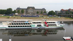 Dresden, Germany. Ship on the Elbe river. Germany Footage