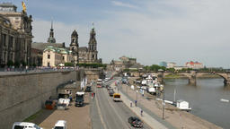 Dresden, Germany. Old town street and the Elbe river Footage