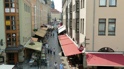 Dresden, Germany. Busy narrow street in the old town. View from above Footage