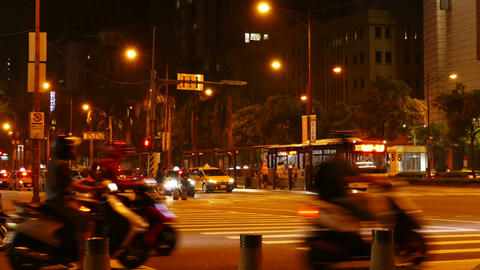 Traffic and people, time lapse in Taipei City Footage