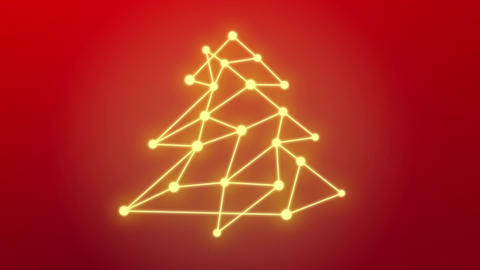 Christmas tree, connected dots background Animation