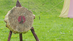 Medieval weapon - training in throw to the disc. Slow motion Live Action