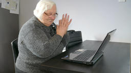 Gambling addiction. Old woman won in online gambling Footage