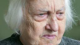 Sad, pensive old woman. Alzheimer Footage