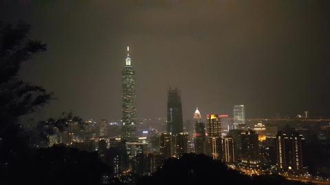 Skyline of Taipei at night Footage
