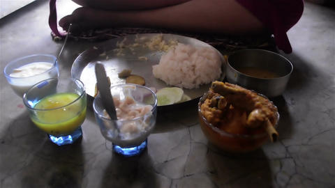Close shot of served meal in birthday in a Bengali family.2 Footage