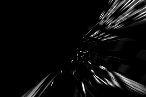 Fly Tunnel Black & White Rotating Animation Stock Video Footage