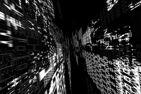 greyscale matrix dolly shot Stock Video Footage