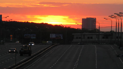 sunset traffic time lapse 4 Stock Video Footage