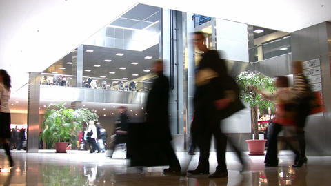 moving people in hall Stock Video Footage