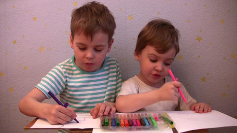 children drawing Footage