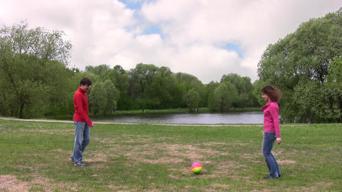 couple play ball Stock Video Footage