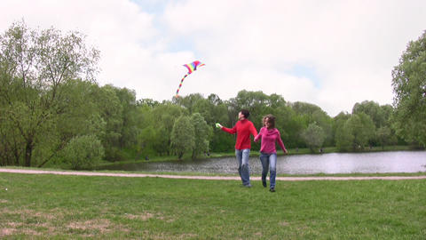 couple with kite Stock Video Footage