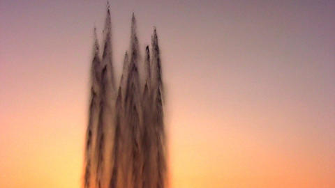fountain water stream on sky sunset Footage