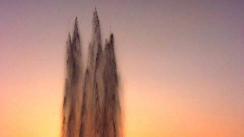 fountain water stream on sky sunset Stock Video Footage