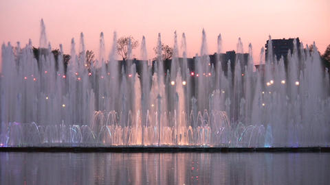 evening fountain Stock Video Footage