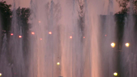 evening fountain zoom Stock Video Footage