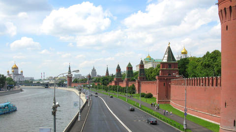 moscow kremlin wall time lapse Stock Video Footage