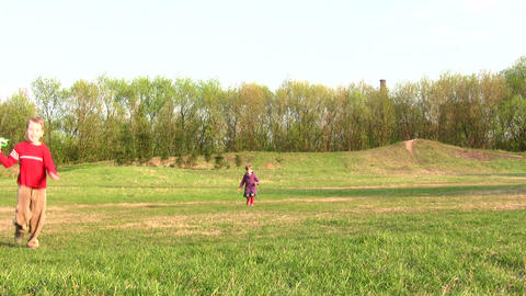 children with kite Stock Video Footage
