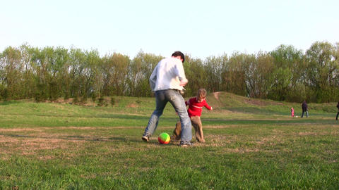 father child soccer Footage