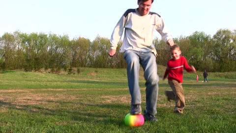 father child soccer Stock Video Footage