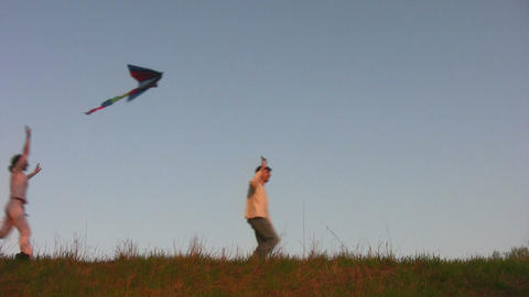 family with kite Stock Video Footage