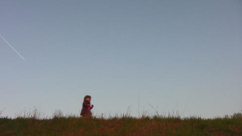 children on meadow Footage