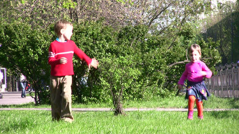 running children in park Footage